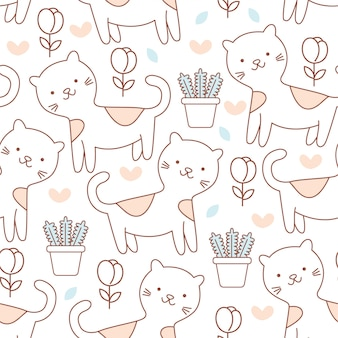 Cute baby cat doodle seamless pattern