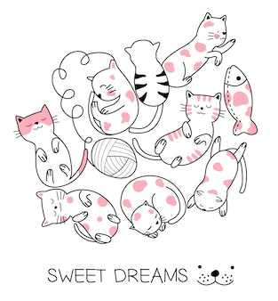 Cute baby cat hand drawn style
