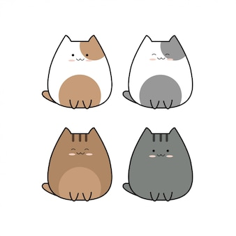 Cute baby cat icon set collection