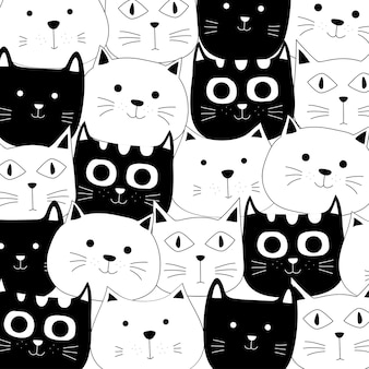Cute baby cat pattern hand drawn style