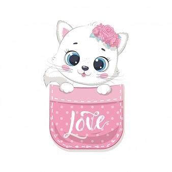 Cute baby cat in pocket.   illustration