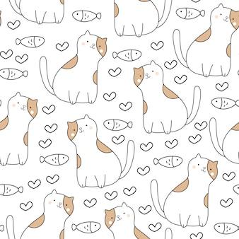 Cute baby cat seamless pattern
