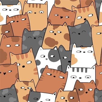 귀여운 아기 고양이 원활한 패턴