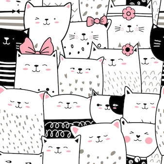 Cute baby cat seamless pattern