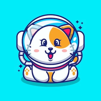 Cute baby cat wearing an astronaut helmet cartoon character