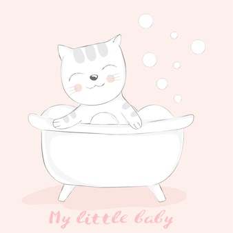 Cute baby cat with bathtub cartoon hand drawn style