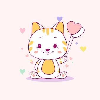 Милый котенок с сердечком воздушные шары векторная иллюстрация