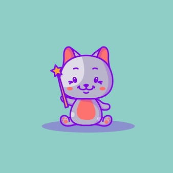 Милый котенок с волшебной палкой векторные иллюстрации