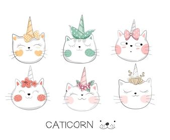 Cute baby cat with unicorn hand drawn style