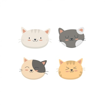 Cute baby cats face collection