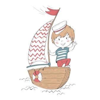 かわいい赤ちゃんのキャラクター。ボートに乗った少年イオリヤク。