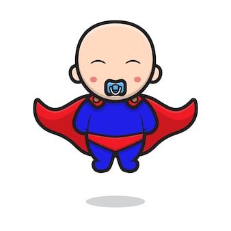 スーパーヒーローの衣装を着て飛んでいるかわいい赤ちゃんのキャラクター。白い背景で隔離のデザイン。
