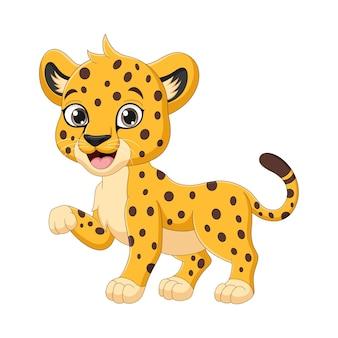 Cute baby cheetah cartoon on white background
