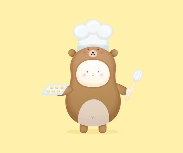 Cute baby chef in bear costume. mascot cartoon illustration premium vector