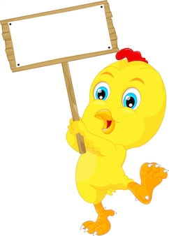 Cute baby chicken cartoon with blank sign