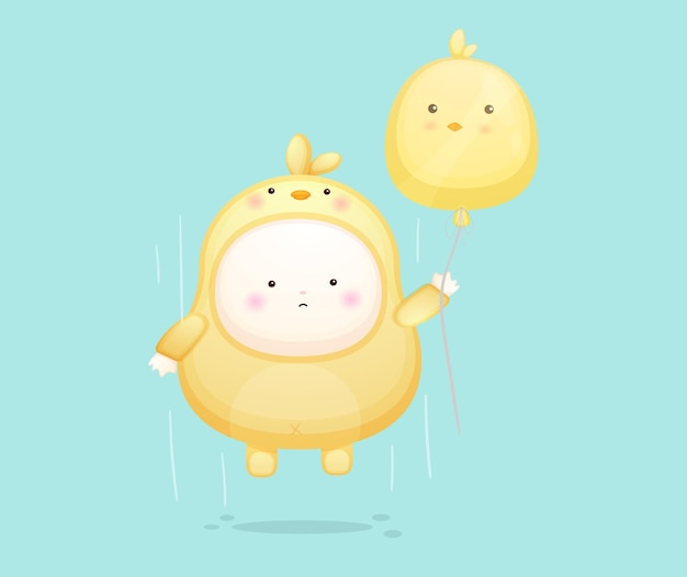 Cute baby in chicks costume flying with balloon. mascot cartoon illustration premium vector