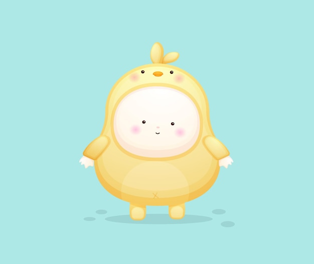 Cute baby in chicks costume. mascot cartoon illustration premium vector