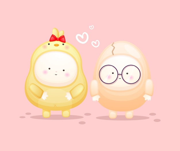 Cute baby in chicks costume with egg couple. mascot cartoon illustration premium vector