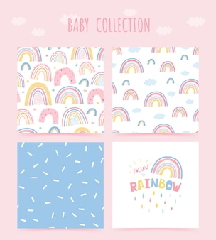 Cute baby collection seamless pattern with rainbow and lettering poster follow the rainbow. background in hand drawn style for children's room design.