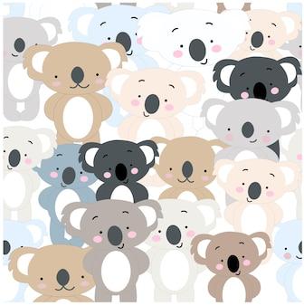 かわいい赤ちゃんのカラフルなコアラのシームレスなパターン