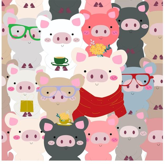 かわいい赤ちゃんカラフルな貯金箱の豚のシームレスなパターン