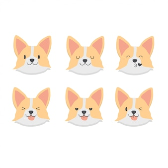 Cute baby corgi emoticon set
