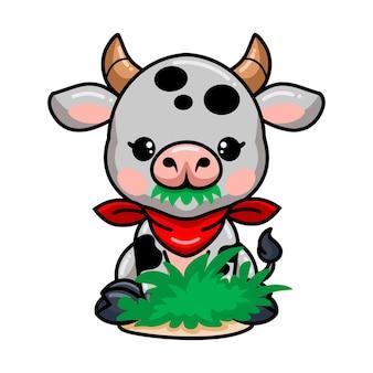 잔디를 먹는 귀여운 아기 암소 만화