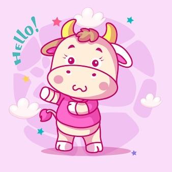 아이들을 위한 귀여운 아기 암소 만화