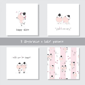 Cute baby cow cartoon set seamless pattern