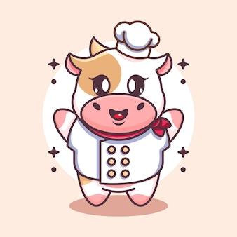 Cute baby cow chef cartoon