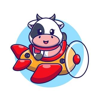 Cute baby cow driving plane cartoon