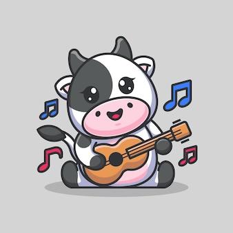 Cute baby cow playing guitar cartoon