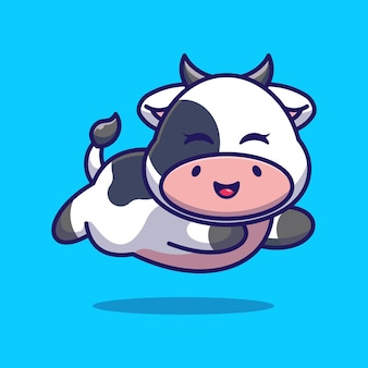 Cute baby cow running cartoon