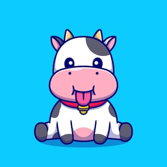 Cute baby cow sitting cartoon illustration.
