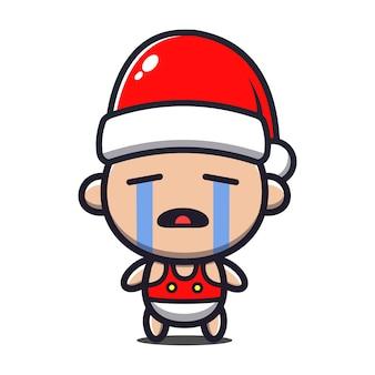 Милый ребенок плачет носит иллюстрации шаржа санта-шляпа. рождественская концепция