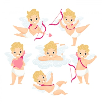 Cute baby cupids flat illustrations set. amurs cartoon characters with wings and love arrows isolated on white background collection. valentines day decoration design elements.