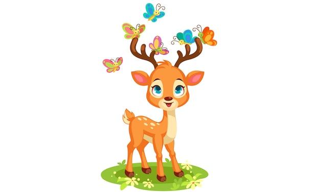 귀여운 아기 사슴과 나비 벡터 일러스트 레이 션