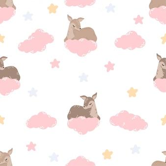 Cute baby deer animal seamless pattern