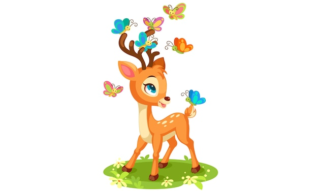 Cute baby deer and butterflies playing