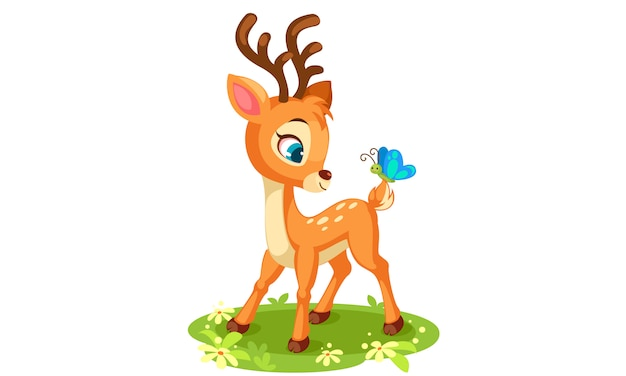 Cute baby deer and butterfly vector illustration