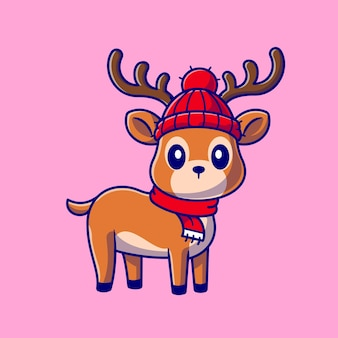 Cute baby deer cartoon  icon illustration. animal nature icon concept isolated  . flat cartoon style