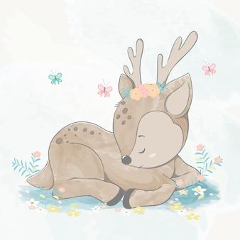 Cute baby deer fell asleep water color cartoon hand drawn  illustration