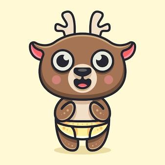 キャラクターアイコンのロゴとイラストのかわいい赤ちゃん鹿