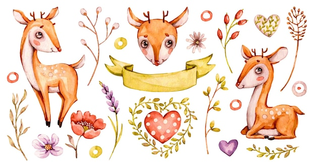 かわいい赤ちゃん鹿のイラストデザイン