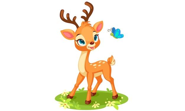 蝶を見てかわいい赤ちゃん鹿