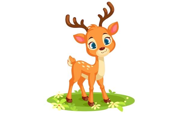 전면 벡터 일러스트 레이 션을보고 귀여운 아기 사슴