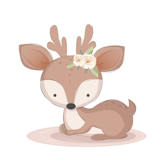 Cute baby deer relaxing