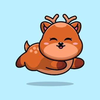 귀여운 아기 사슴 실행 만화