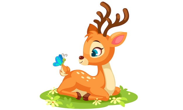 Cute baby deer sitting vector