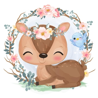 Cute baby deer in watercolor style for nursery decoration